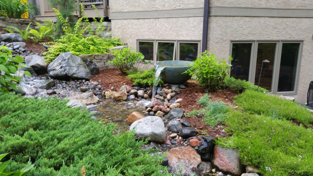 waterfall pond yard installation minneapolis